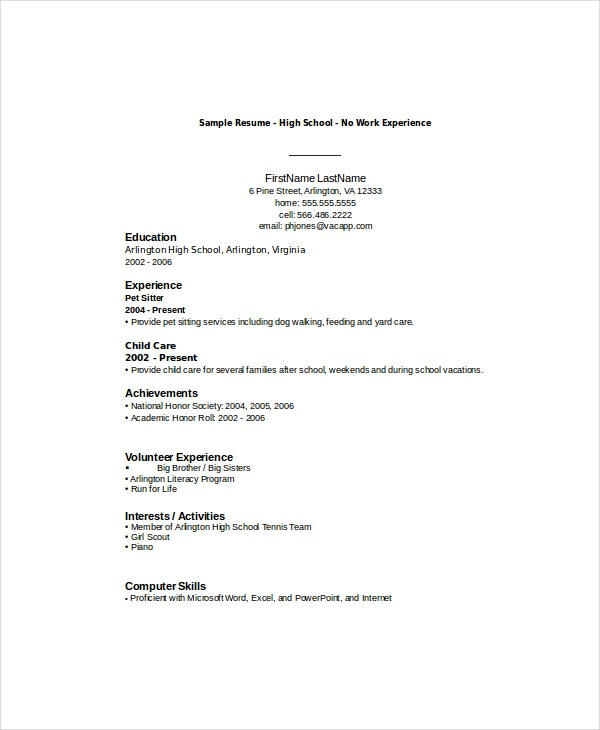 high school student resume templates pdf free premium schooler sample with no experience Resume High Schooler High School Resume Sample