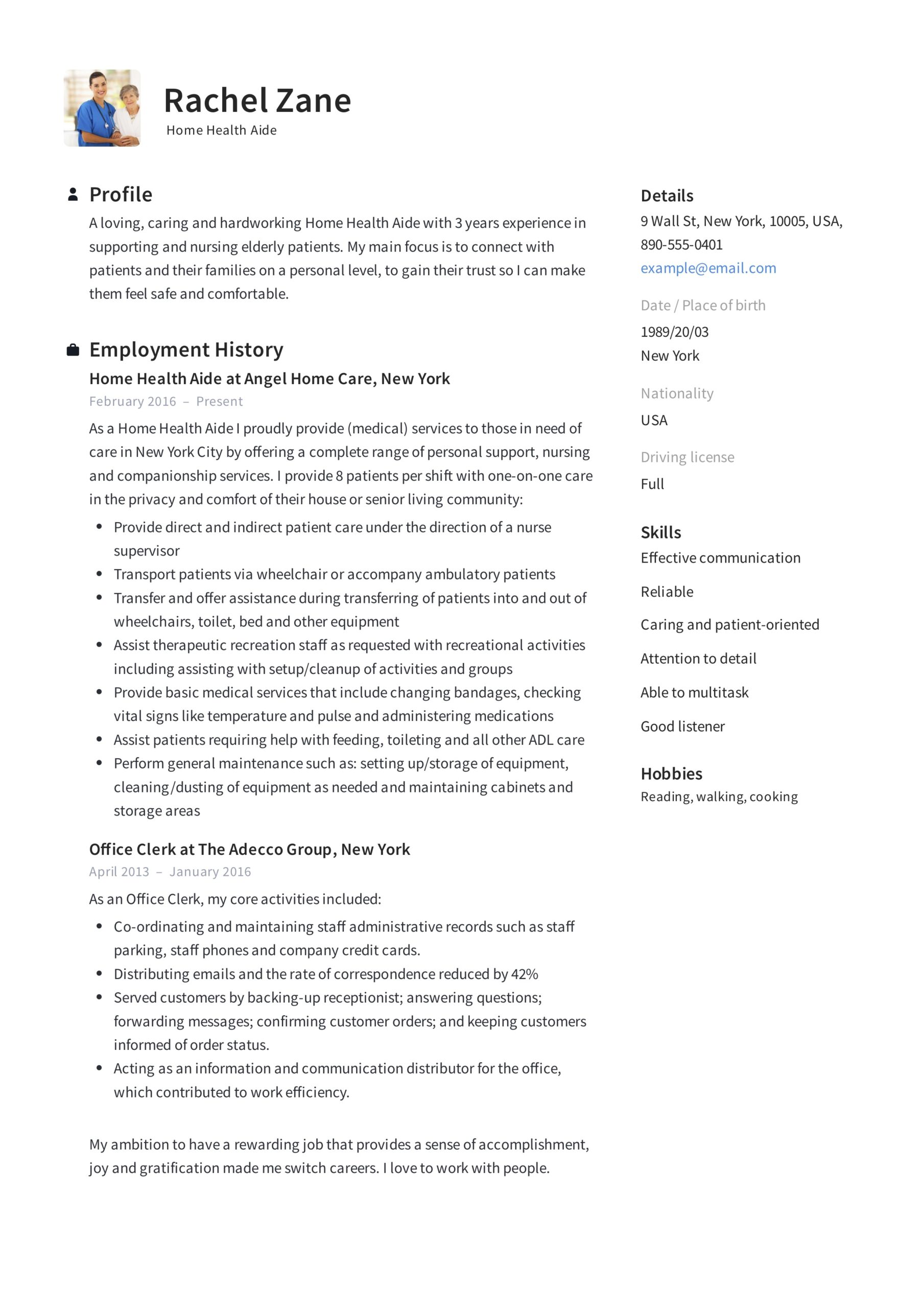 home health aide resume sample writing guide samples pdf care healt airline format Resume Home Health Care Resume