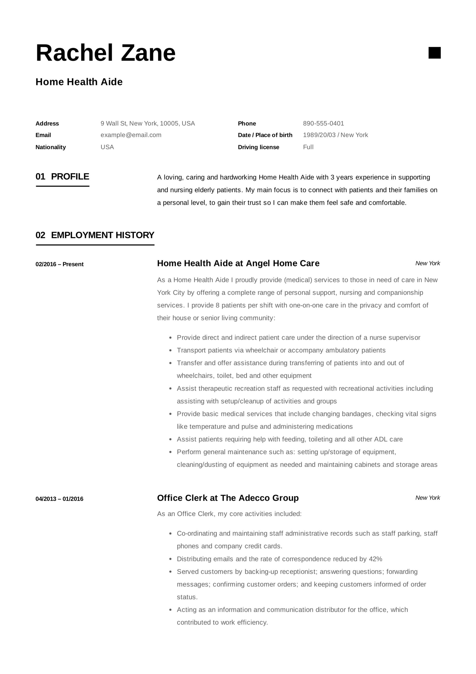 home health aide resume sample writing guide samples pdf care healt college education on Resume Home Health Care Resume