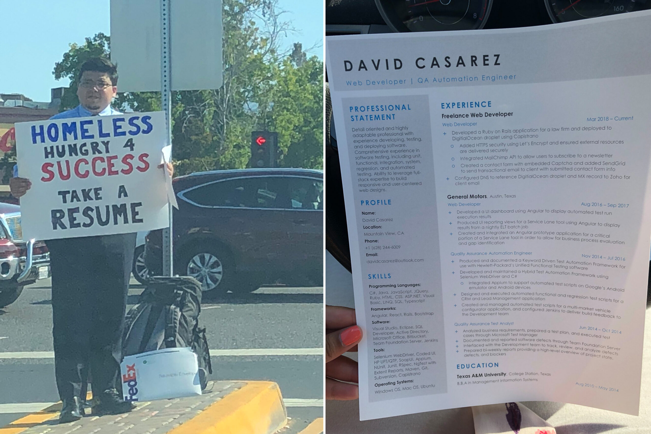 homeless man hands out resumes gets over job offers david careers resume review homless Resume David Careers Resume Review