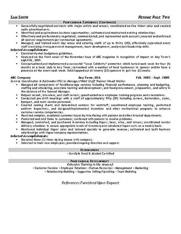hospitality resume example customer service hospitality2 format for college students Resume Customer Service Hospitality Resume