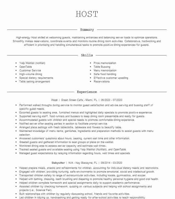 host resume example view rv workamper template operations manager objective builder for Resume Workamper Resume Template
