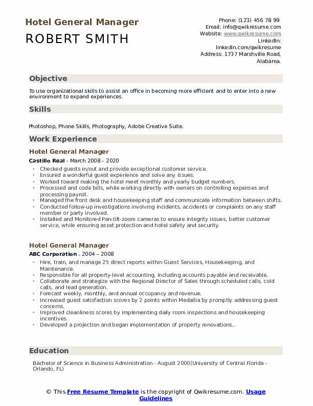 hotel general manager resume samples qwikresume marriott pdf music therapy example Resume Hotel General Manager Resume Marriott