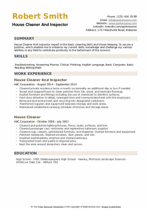 house cleaner resume samples qwikresume cleaning description for pdf contracting officer Resume Cleaning Description For Resume