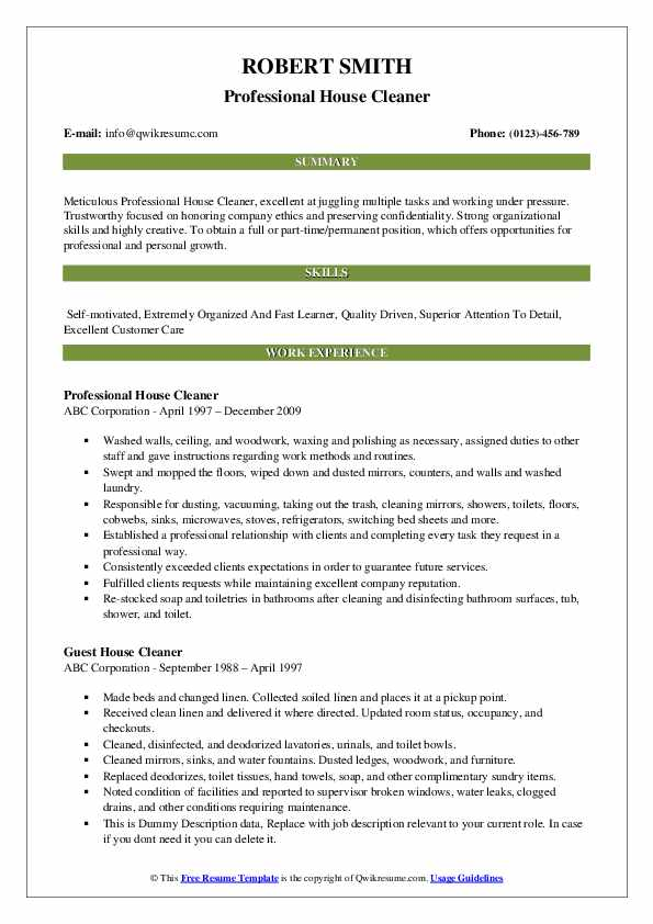 house cleaner resume samples qwikresume home cleaning sample pdf stylist format oversaw Resume Home Cleaning Resume Sample