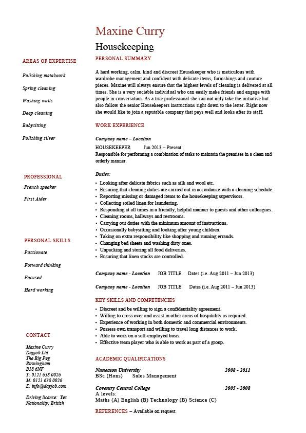 housekeeping resume cleaning sample templates job description maintenance carpets skills Resume Resume Samples For Cleaning Position