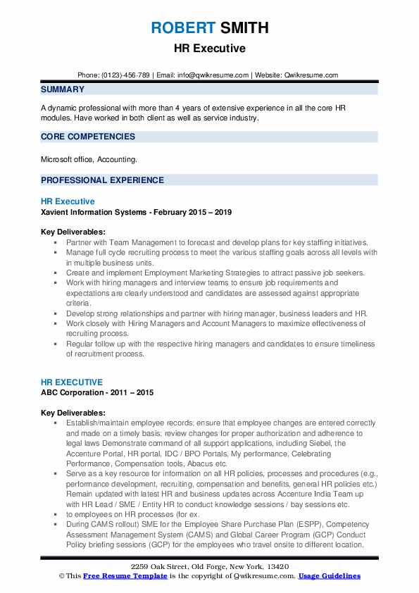 hr executive resume samples qwikresume summary example template pdf for operations Resume Executive Summary Resume Example Template