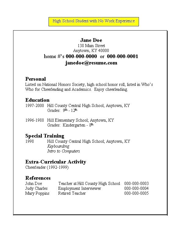 hs student resume for high school with no work experience template lesson students Resume Resume Lesson For High School Students