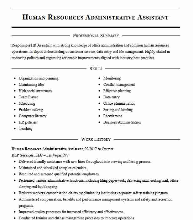 human resources administrative assistant resume example livecareer template careerbuilder Resume Human Resources Assistant Resume Template
