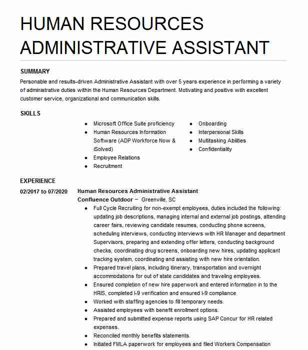 human resources administrative assistant resume example livecareer template restful web Resume Human Resources Assistant Resume Template