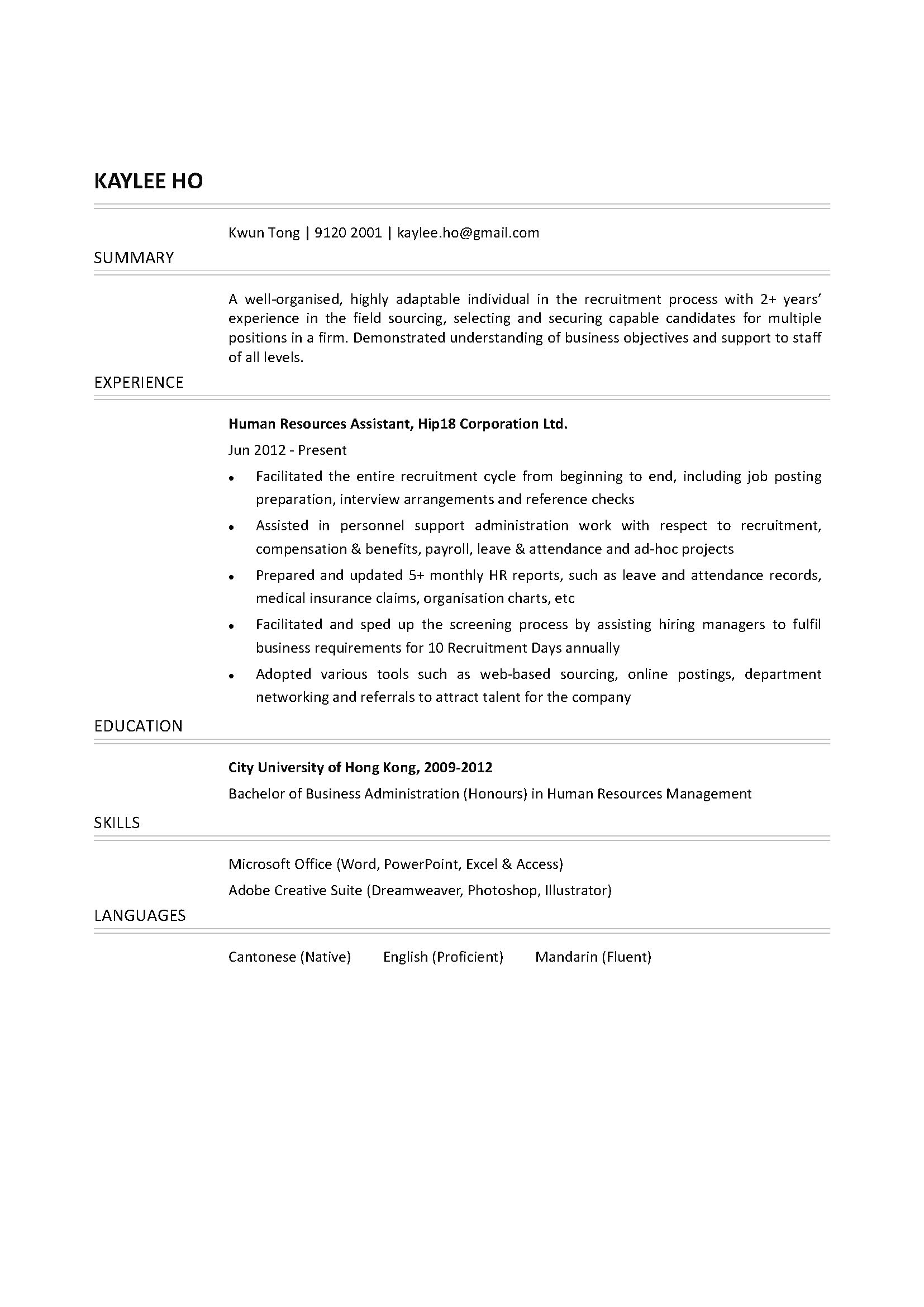 human resources assistant cv ctgoodjobs powered by career times resume template restful Resume Human Resources Assistant Resume Template