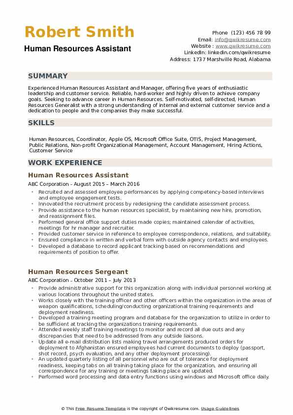 human resources assistant resume samples qwikresume template pdf forklift examples house Resume Human Resources Assistant Resume Template