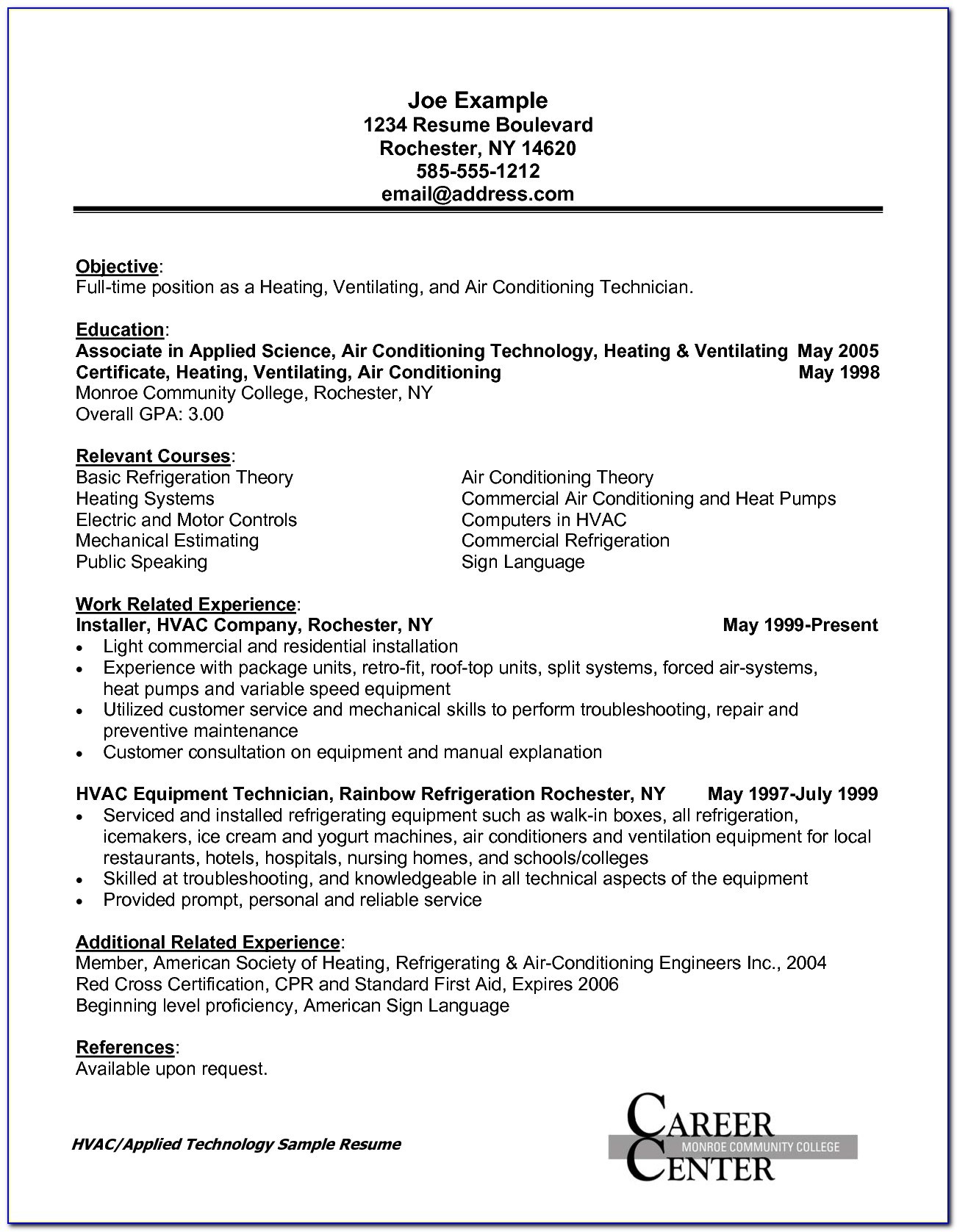 hvac duct installer resume vincegray2014 job description sample for format converter Resume Hvac Job Description Resume