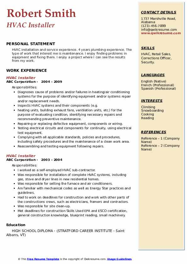 hvac installer resume samples qwikresume job description pdf leaving current off order Resume Hvac Job Description Resume