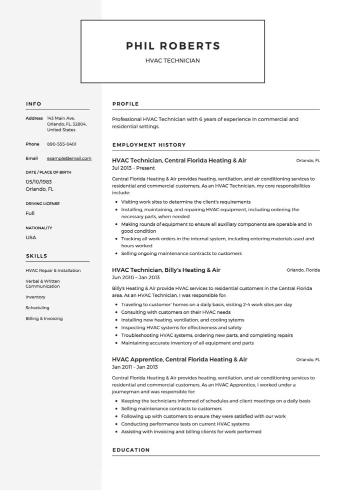 hvac technician resume example guide business analyst job description general objective Resume Hvac Job Description Resume