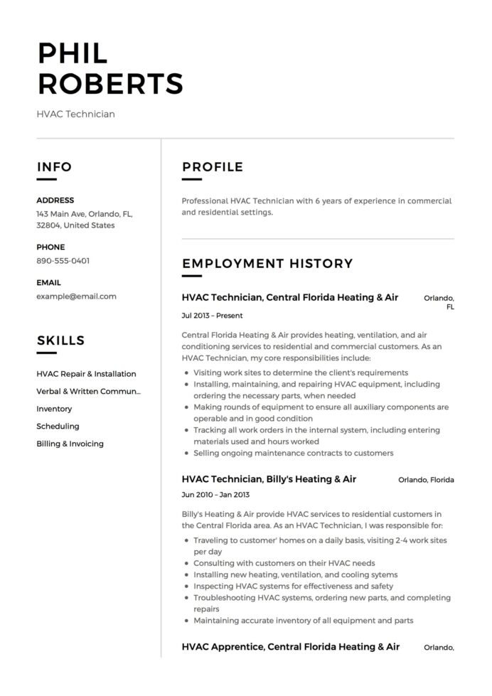 hvac technician resume guide templates pdf word job description experiences example Resume Hvac Job Description Resume