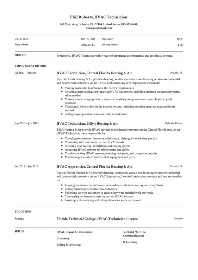 hvac technician resume guide templates pdf word job description template 724x1024 elegant Resume Hvac Job Description Resume