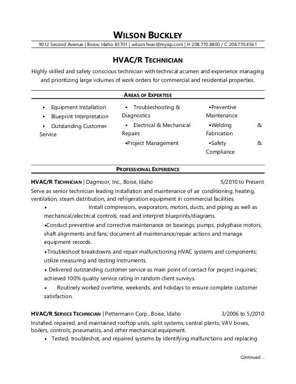 hvac technician resume sample monster areas of expertise for office assistant position Resume Areas Of Expertise Resume