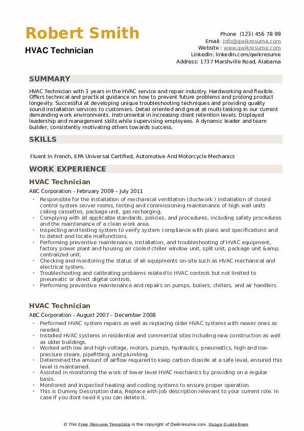 hvac technician resume samples qwikresume job description pdf cdl free sample sap testing Resume Hvac Job Description Resume