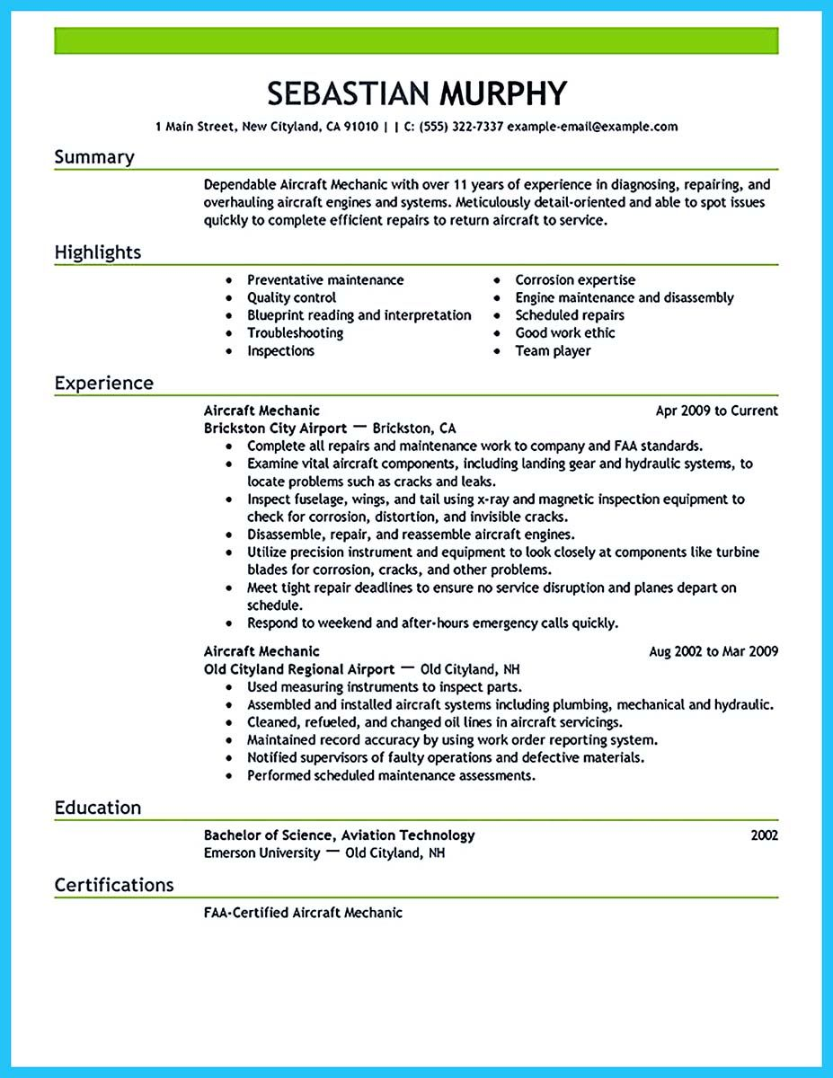 if you want to propose job as an airline pilot need make resume that can your employer Resume Aviation Mechanic Resume Sample