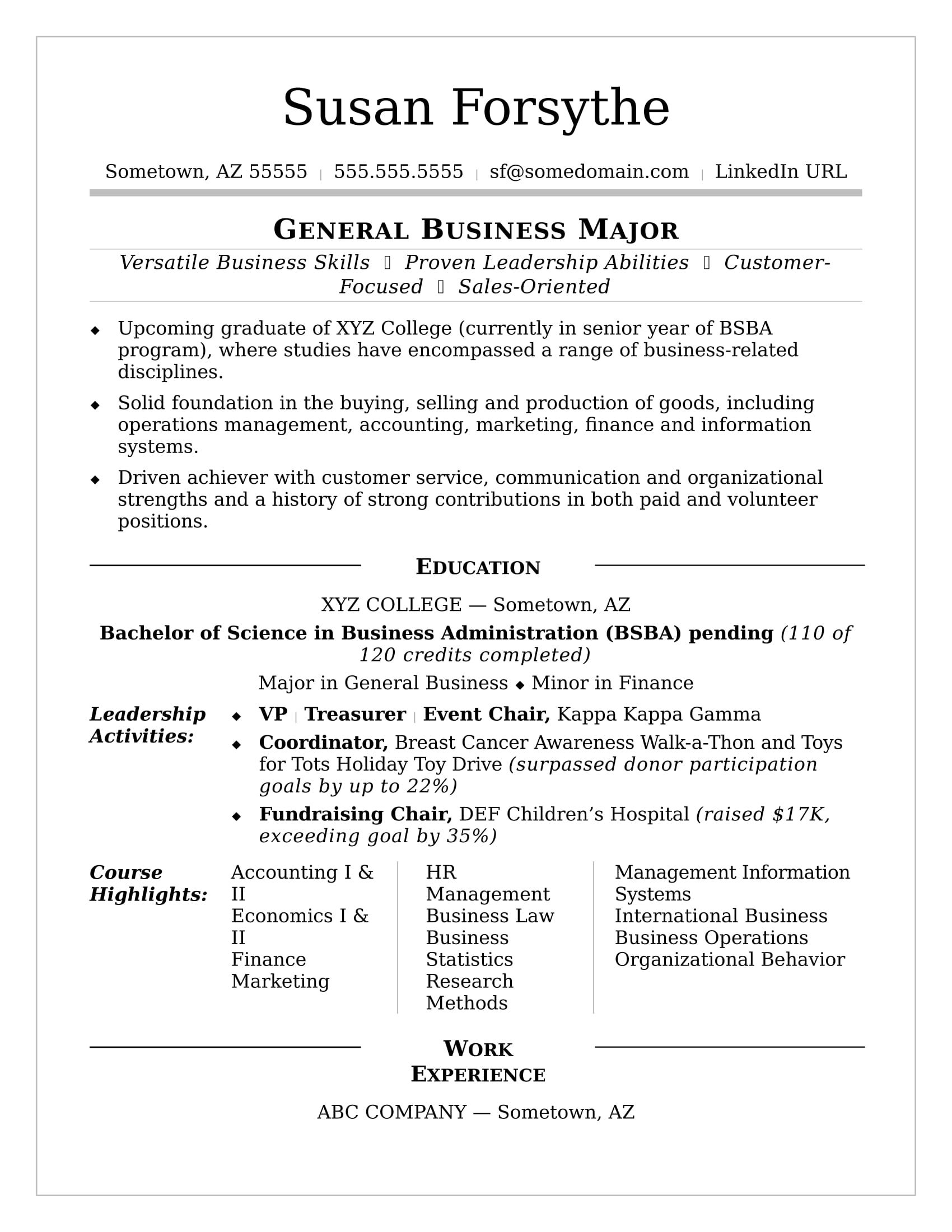 image result for college student resume template graduate example and writing tips Resume College Graduate Resume Example And Writing Tips
