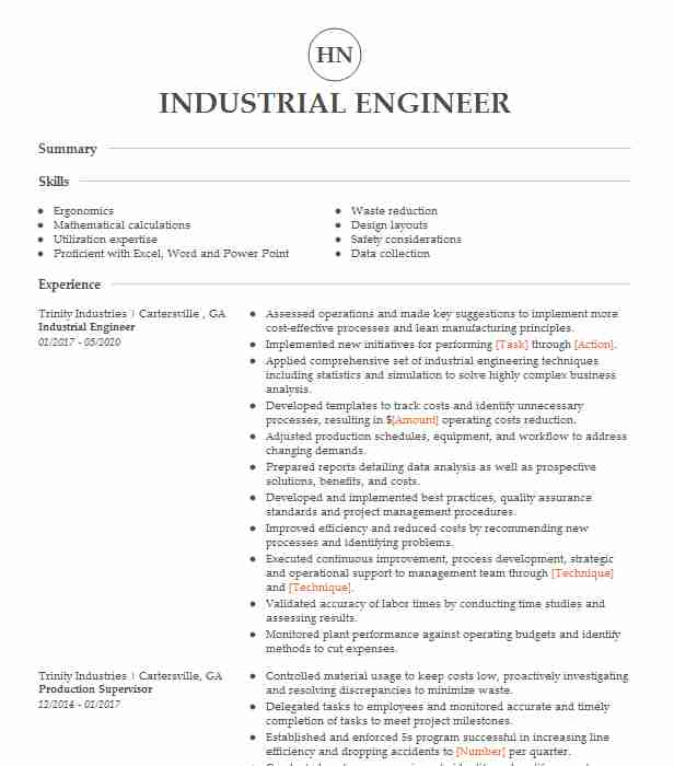 industrial engineer resume example engineering resumes livecareer center manager body of Resume Industrial Engineer Resume