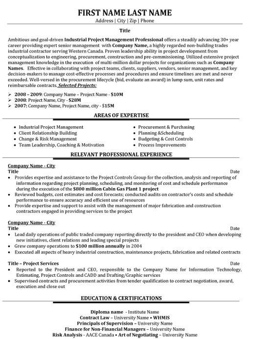 industrial project manager resume sample template senior level dance for college Resume Project Manager Resume Sample
