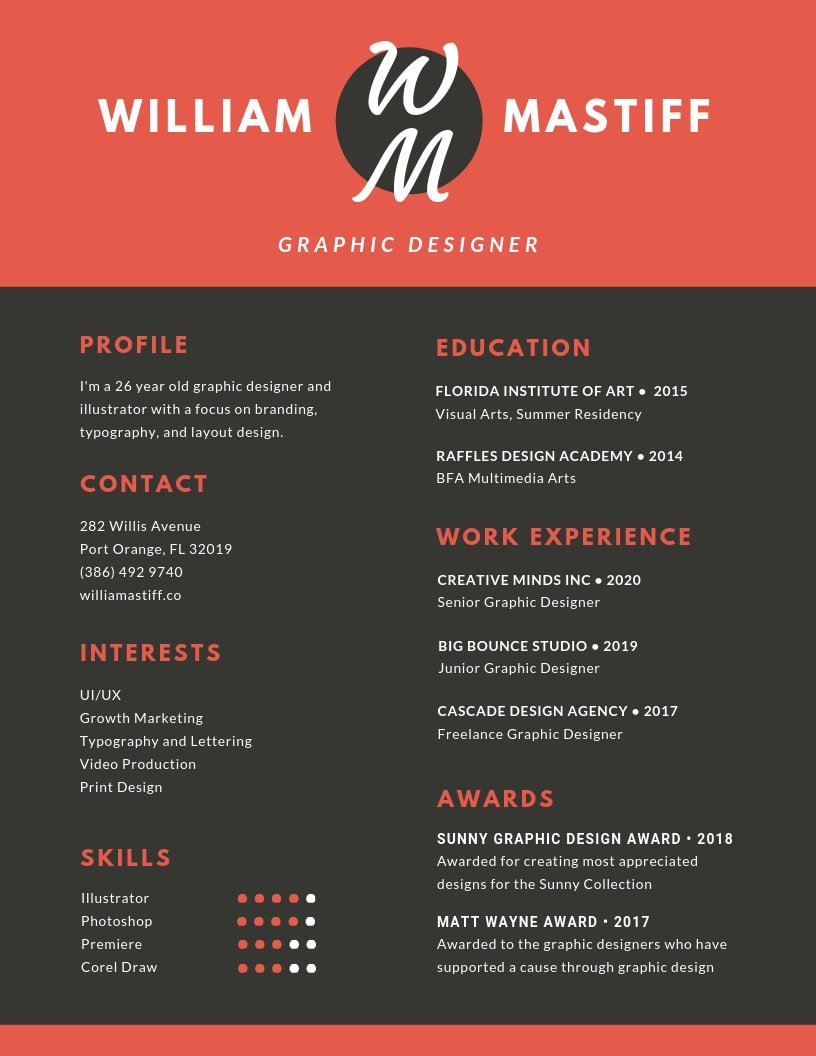 inspiring resume designs to learn from canva graphic design red grey modern expected Resume Graphic Design Resume 2019