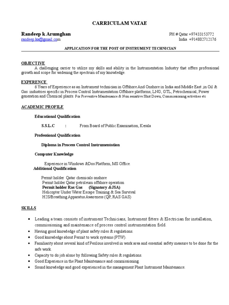 instrument technician cv sensor gases electrical and instrumentation supervisor resume Resume Electrical And Instrumentation Supervisor Resume