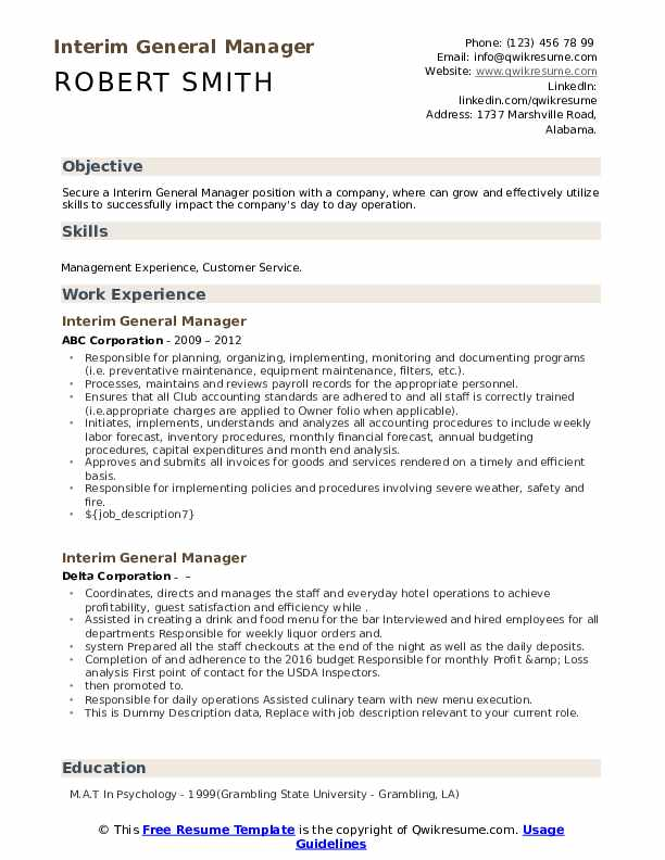 interim general manager resume samples qwikresume for position pdf highlights ats test Resume Resume For General Manager Position
