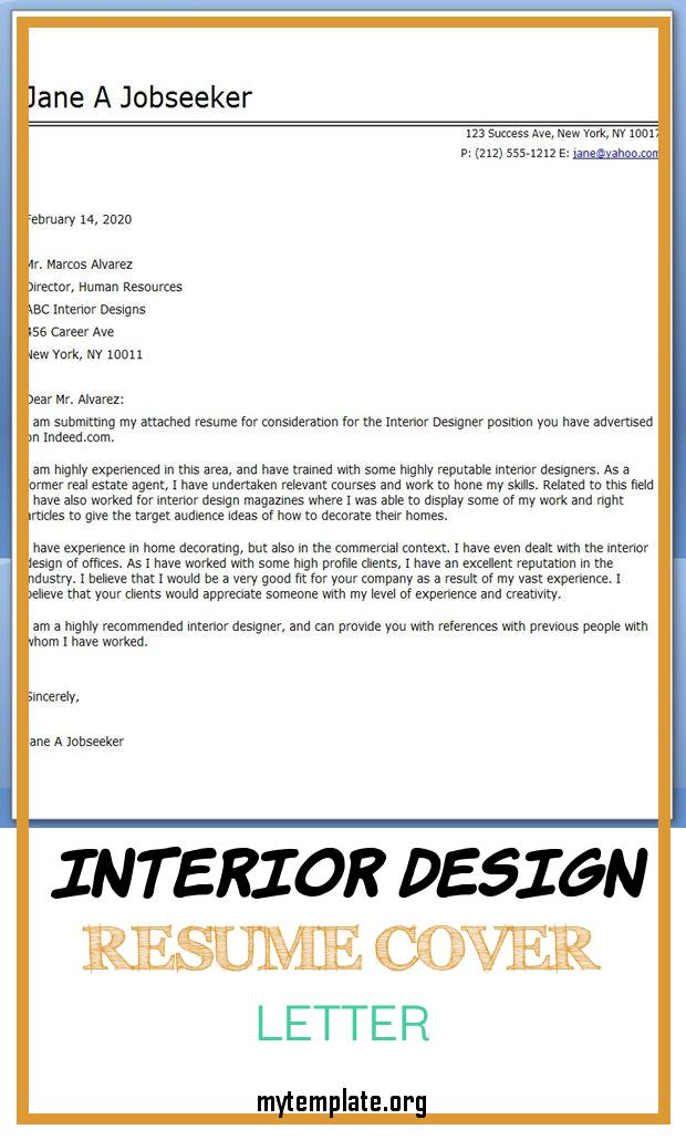 interior design resume cover letter free templates of examples pin skills that look good Resume Interior Design Resume Cover Letter