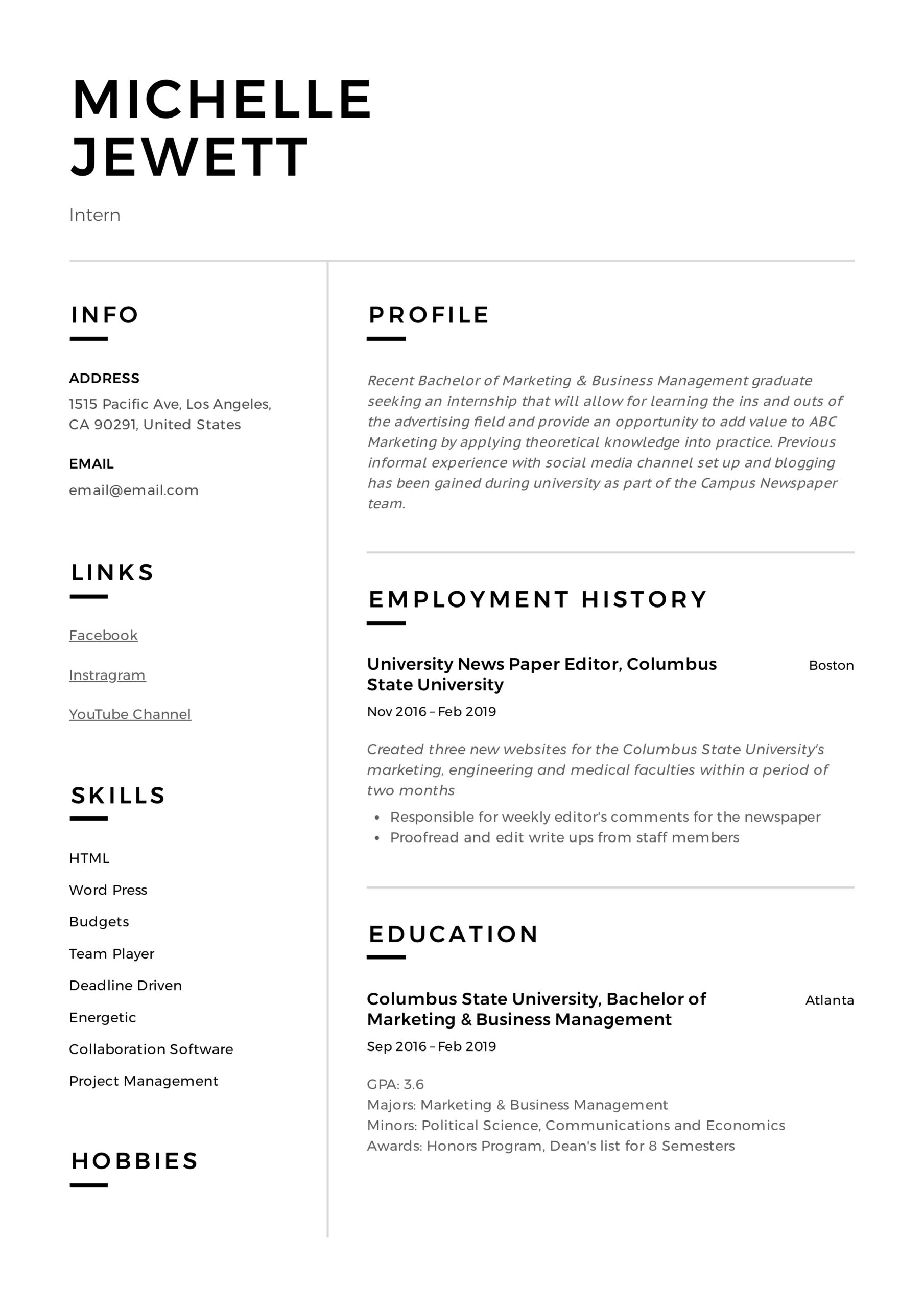 intern resume writing guide samples pdf college student summer internship example army Resume College Student Summer Internship Resume