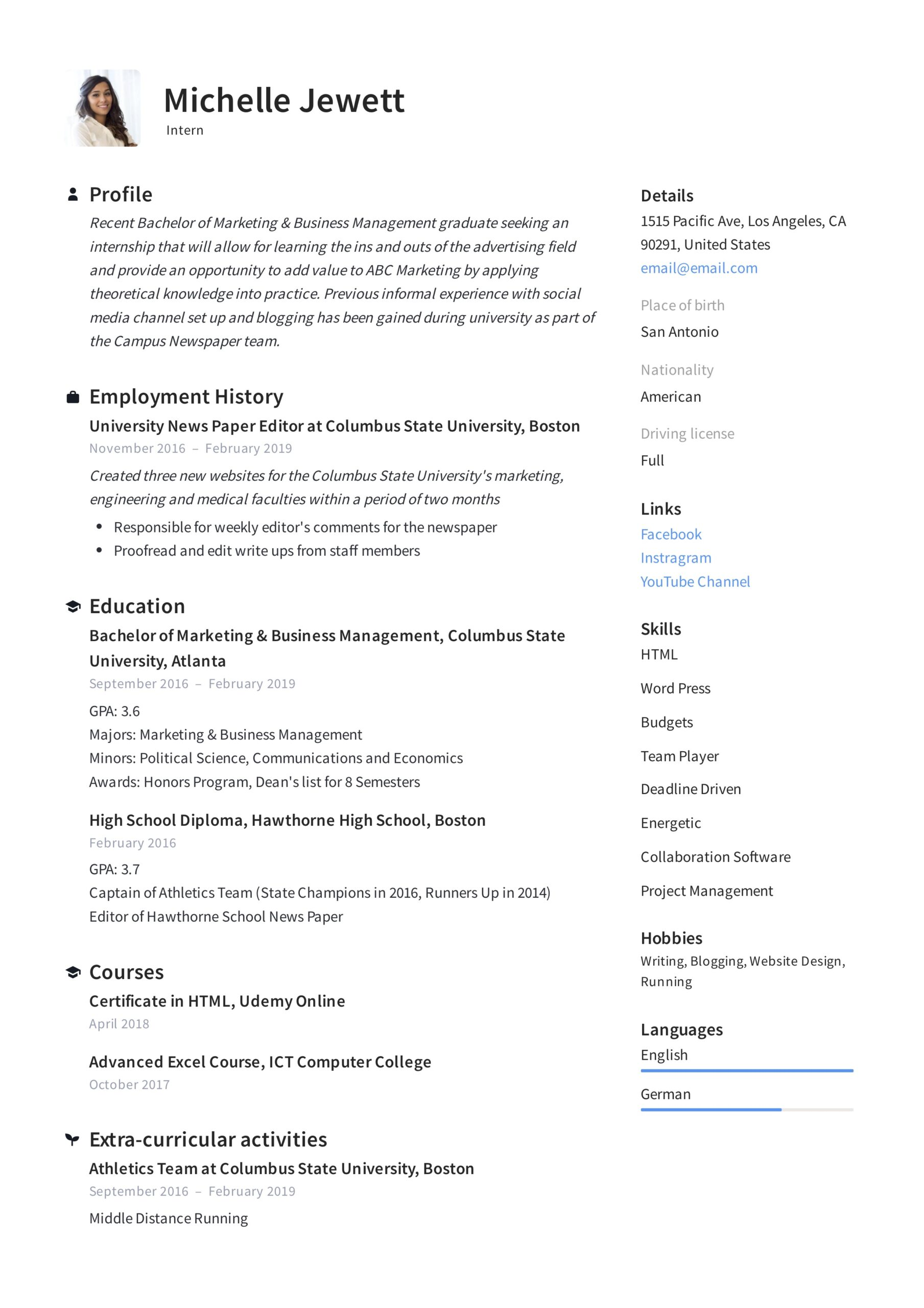 intern resume writing guide samples pdf college student summer internship example deli Resume College Student Summer Internship Resume