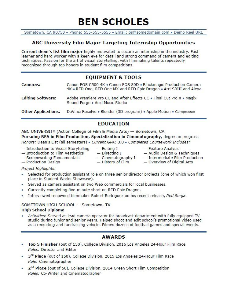 internship resume sample monster art student film industry giraffe entry level front desk Resume Art Student Resume Sample