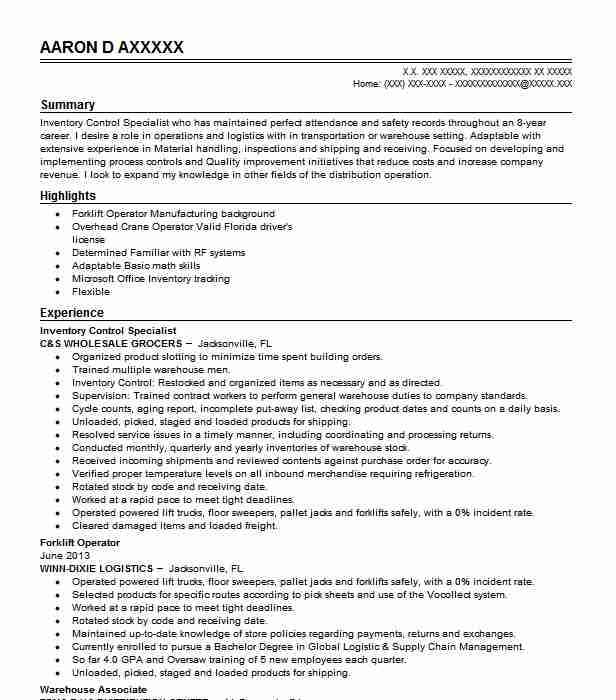 inventory control specialist resume example livecareer food service description for Resume Inventory Specialist Resume