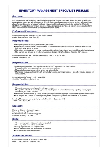 inventory management specialist resume example sample image michelle obama hvac open Resume Inventory Management Specialist Resume