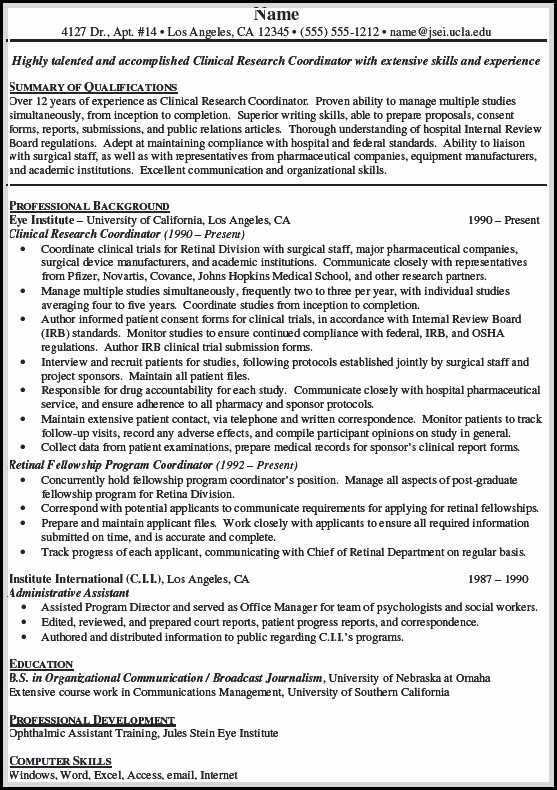 is important in making clinical research associate resume job samples good examples Resume Clinical Research Associate Resume Template
