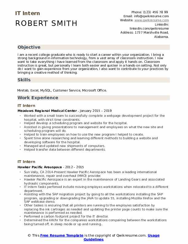 it intern resume samples qwikresume example of for internship pdf don goodman writer hs Resume Example Of A Resume For Internship