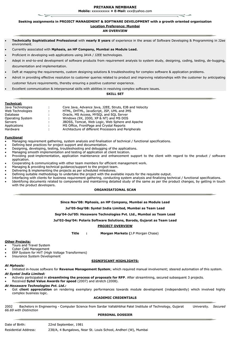 it resume format samples for cv naukri software engineer level v1 hospital housekeeping Resume Resume Format For Software Engineer