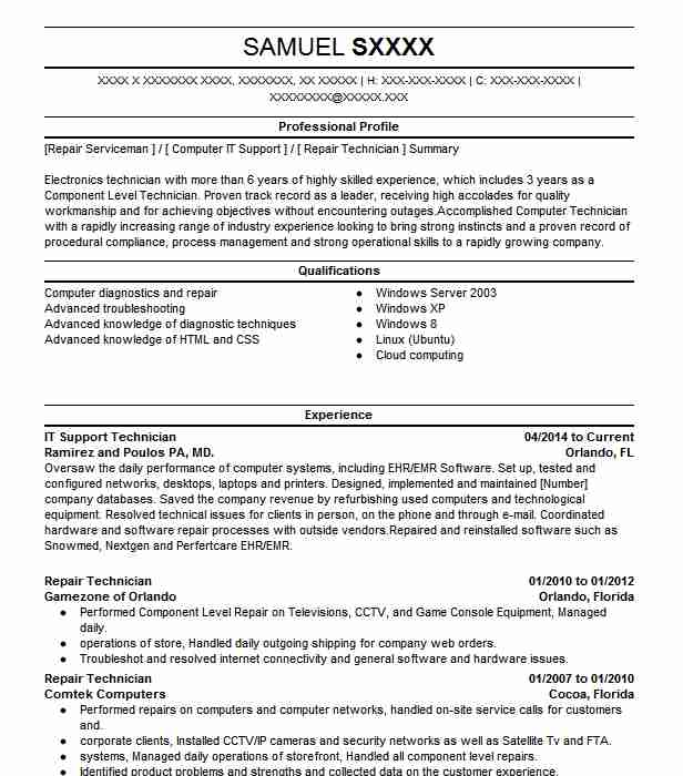 it support technician resume example resumes livecareer computer service fire chief Resume Computer Service Technician Resume
