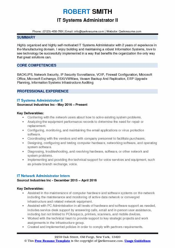 it systems administrator resume samples qwikresume system pdf free executive templates Resume System Administrator Resume