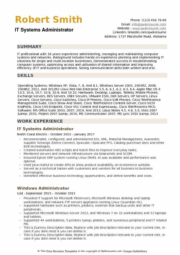 it systems administrator resume samples qwikresume system sample pdf prince2 Resume System Administrator Resume Sample