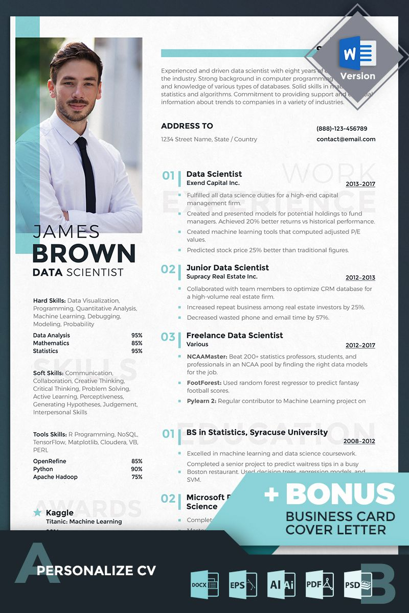 james data scientist resume template student modern templates for supply chain clinical Resume Resume Data Scientist Template