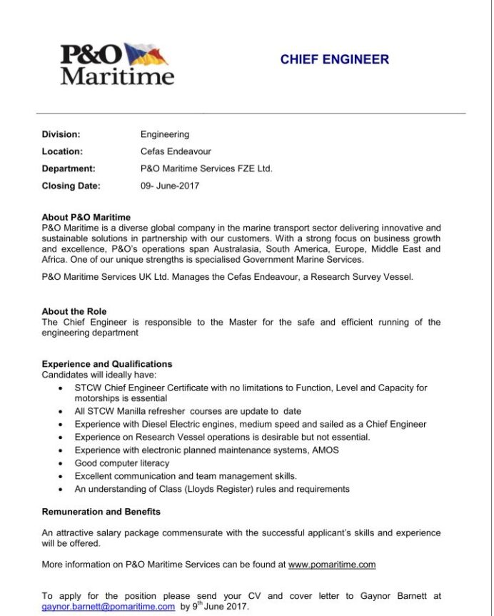 job opportunity chief engineer with maritime services fze ltd nmci blog bosiet offshore Resume Cover Letter Format For Resume For Marine Engineer
