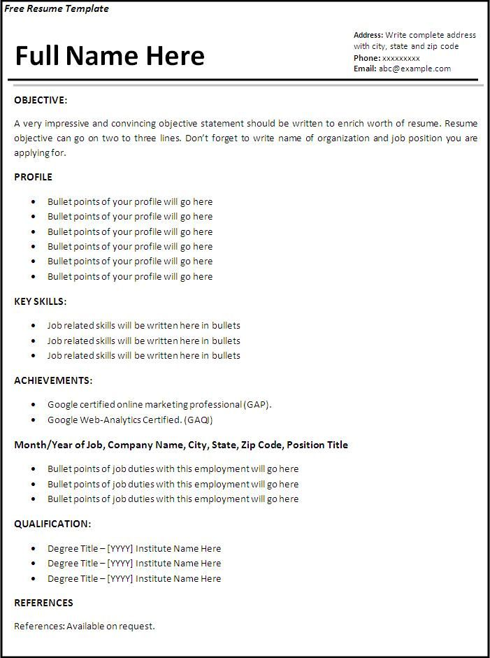 job resume template free word templates first format examples basic layouts summary for Resume Basic Resume Layouts Free