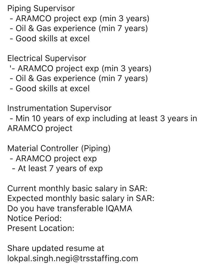 jobs in oil and gas for aramco experienced piping supervisor electrical instrumentation Resume Electrical And Instrumentation Supervisor Resume