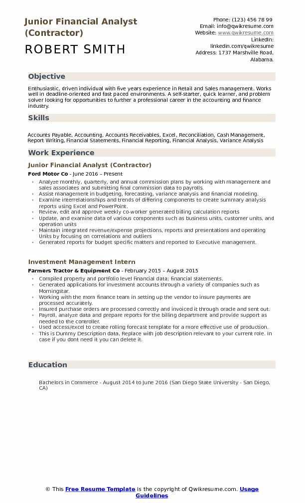 junior financial analyst resume samples qwikresume objective for finance pdf excellent Resume Objective For Finance Resume