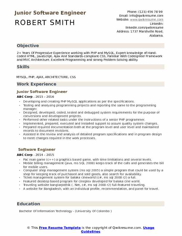 junior software engineer resume samples qwikresume format for pdf physical education Resume Resume Format For Software Engineer