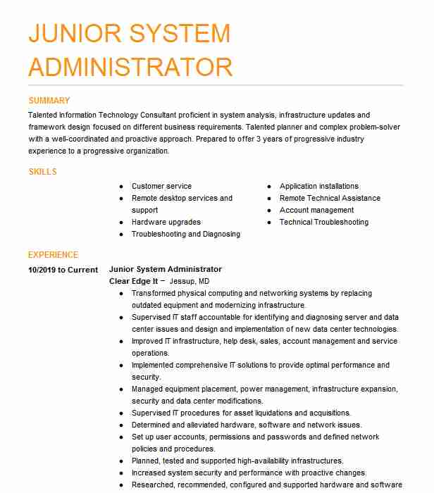 junior system administrator resume example it solutions indianapolis high school summary Resume System Administrator Resume