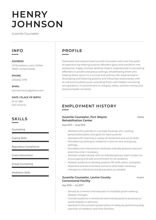 juvenile counselor resume examples writing tips free guide licensed professional Resume Licensed Professional Counselor Resume